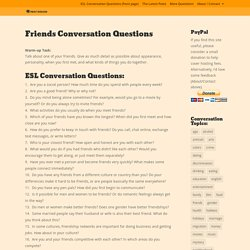 Friends Conversation Questions - PRINT DISCUSS