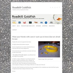What your friends with cancer want you to know (but are afraid to say) - Roadkill Goldfish