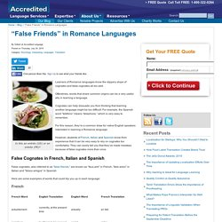 False Friends in Romance Languages