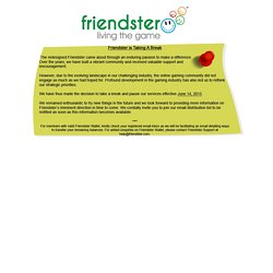 Welcome to Friendster