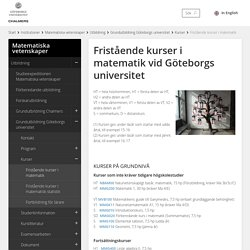 Fristående kurser i matematik vid Göteborgs universitet