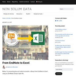 From EndNote to Excel - Non Solum Data