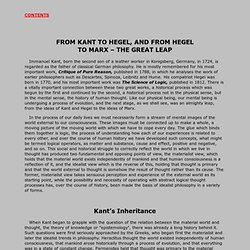 From Kant to Hegel and From Hegel to Marx - the Great Leap