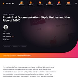 Front-End Documentation, Style Guides and the Rise of MDX