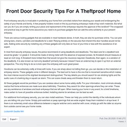 Front Door Security Tips For A Theftproof Home