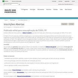 ISF - Inglês Sem Fronteiras - Inscrições Abertas