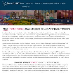 Make Frontier Airlines Flights Booking at Cheapest Airfares
