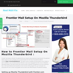 Setup Frontier Mail On Mozilla Thunderbird,Frontier Mail Setting