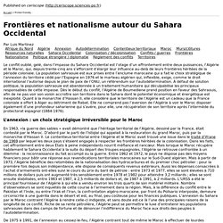 Frontières et nationalisme autour du Sahara Occidental