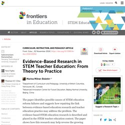 Evidence-Based Research in STEM Teacher Education: From Theory to Practice