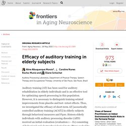 Efficacy of Auditory Training in Elderly Subjects