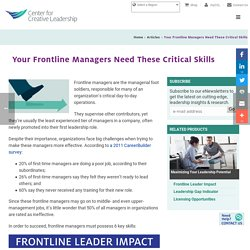 Your Frontline Managers Need These Critical Skills - Center for Creative Leadership
