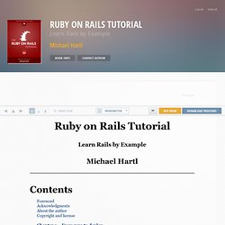Ruby on Rails Tutorial: Learn Rails by Example | Ruby on Rails 3 Tutorial book and screencasts | by Michael Hartl