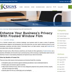 Enhance Business Privacy with Frosted Glass Film