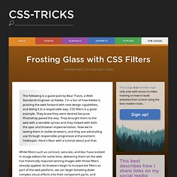 Frosting Glass with CSS Filters