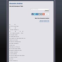 Cea mai frumoasa zi - Alexandru Andries Tabs