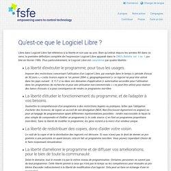 FSFE - Qu'est-ce que le Logiciel Libre?