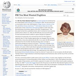 FBI Ten Most Wanted Fugitives