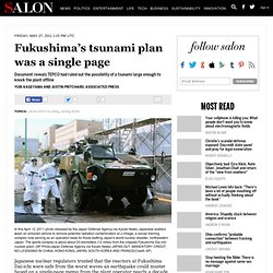 Fukushima's tsunami plan was a single page - Japan Earthquake