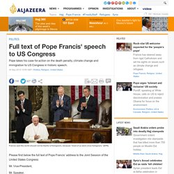 Full text of Pope Francis' speech to US Congress