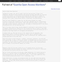 """Guerilla Open Access Manifesto"""