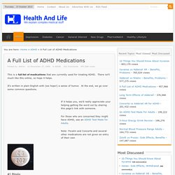 A Full List of ADHD Medications - Health and Life