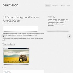 Full Screen Background Image - Pure CSS Code