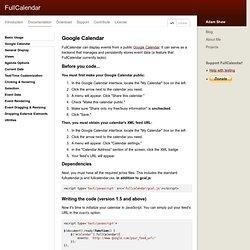 FullCalendar Documentation - Google Calendar