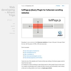 fullPage.js jQuery Plugin for fullscreen scrolling websites
