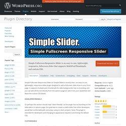 Simple Fullscreen Responsive Slider — WordPress Plugins