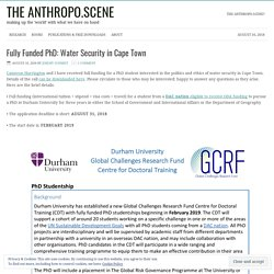 Fully Funded PhD: Water Security in Cape Town – the anthropo.scene