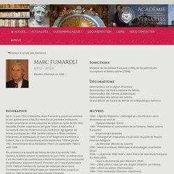 FUMAROLI Marc — Académie des Sciences Morales, des Lettres et des Arts de Versailles et d'Île-de-France