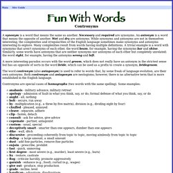 Fun With Words: Contronyms