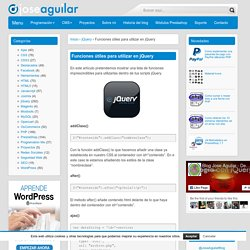 Funciones útiles para utilizar en jQuery - Jose Aguilar