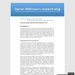 Lexical scope and function closures in R | Darren Wilkinson's research blog