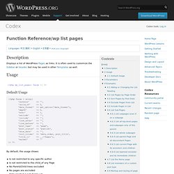 Function Reference/wp list pages