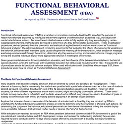 FBA: Functional behavior assessment