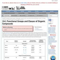 24.1 Functional Groups and Classes of Organic Compounds