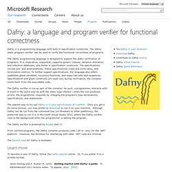 Dafny: A language and program verifier for functional correctness