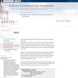 Software Functional Test Automation: DataProvider - Data Driven Testing with Selenium and TestNG