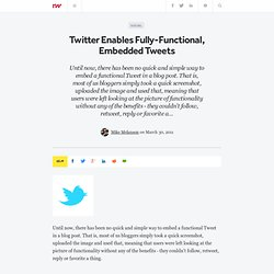 Twitter Announces Fully-Functional Embedded Tweets