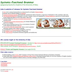 Functional Grammar: Course homepage