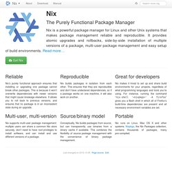 Nix: The Purely Functional Package Manager