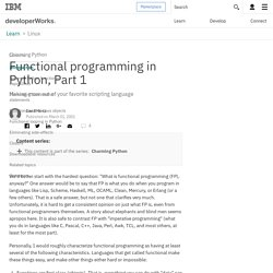 Charming Python: Functional programming in Python, Part 1