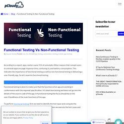 Functional Testing Vs Non-Functional Testing