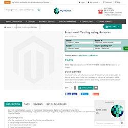 Functional Testing using Ranorex Training in Bangalore