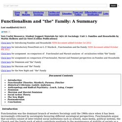 Functionalism and the Family: A Summary