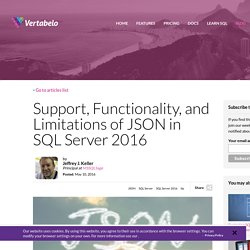 Support, Functionality, and Limitations of JSON in SQL Server 2016