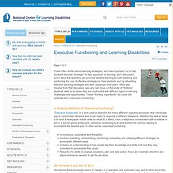 Executive Functioning and Learning Disabilities