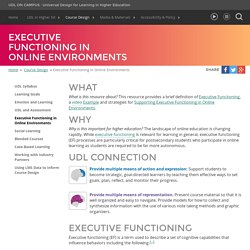 UDL On Campus: Executive Functioning in Online Environments